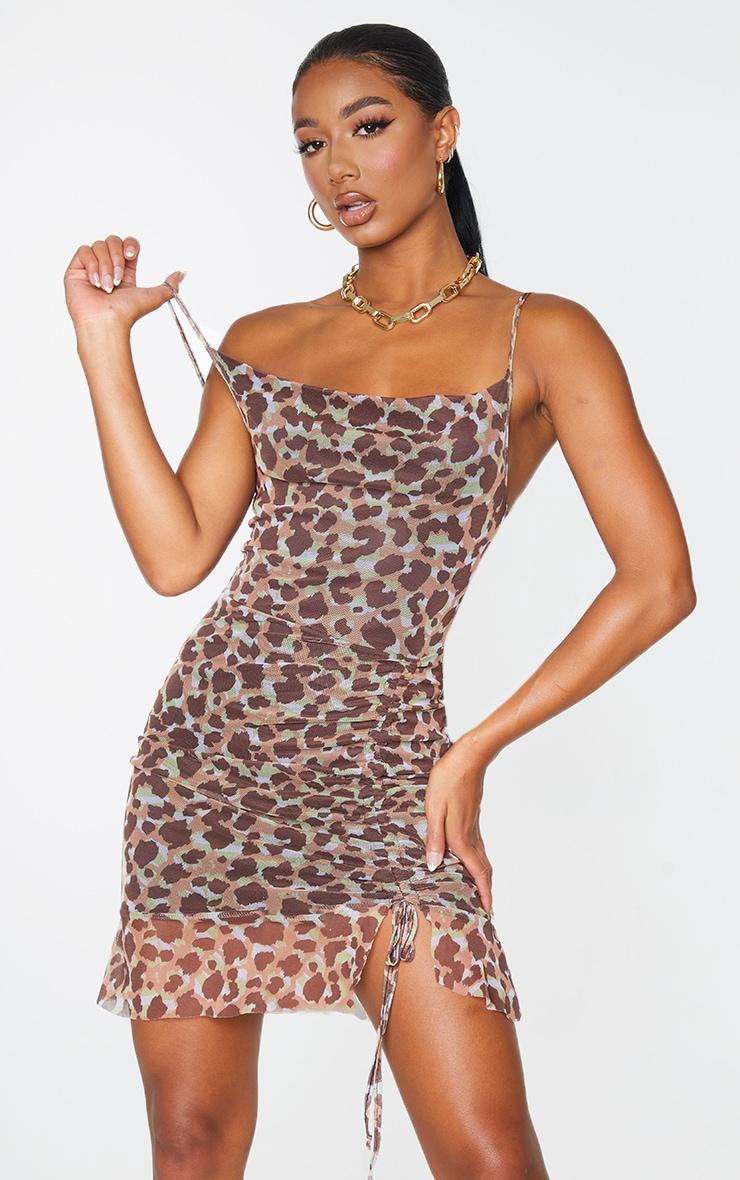 Multi Mesh Leopard Print Ruched Bodycon Dress 1