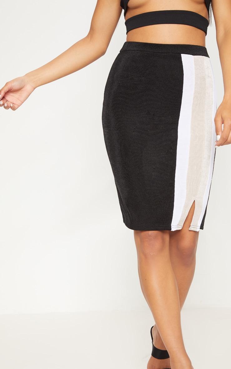 Black Side Stripe Split Hem Detail Midi Skirt 6