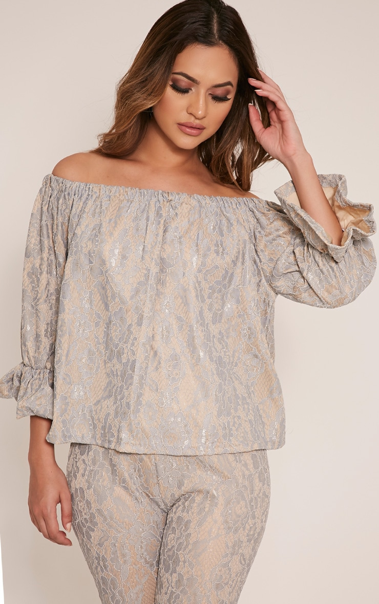 Arlia Dusty Blue Lace Bardot Top 1