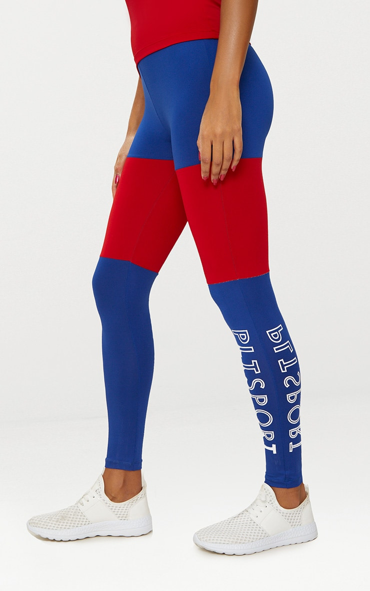 Cobalt Colour Block Sports Leggings 3