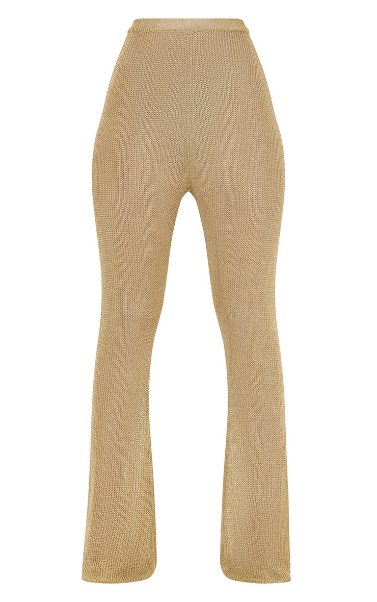 Gold Metallic Knit Flared Trousers 4