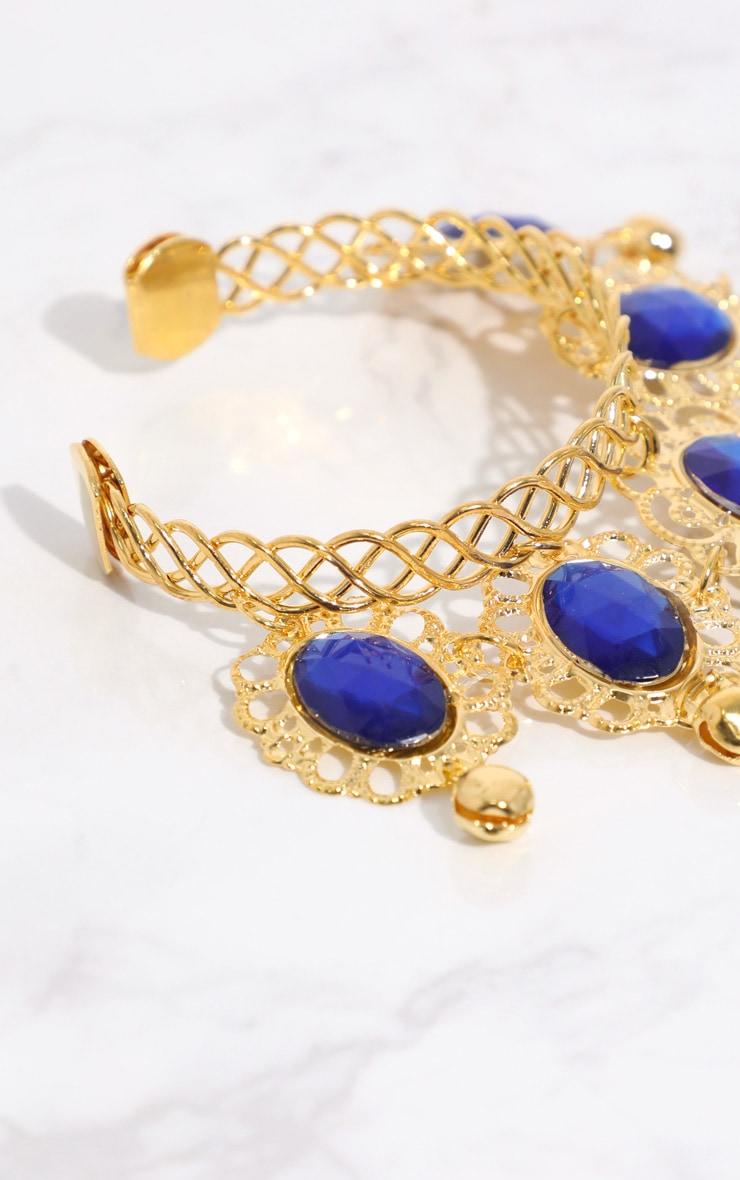 Midnight Blue Gem Gold Hand Chain 3
