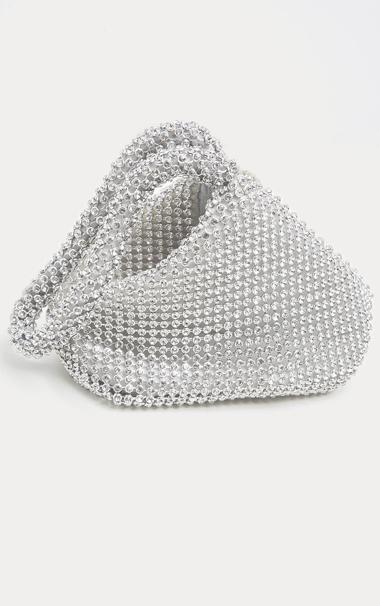 Silver Diamante Chainmail Pouch 4