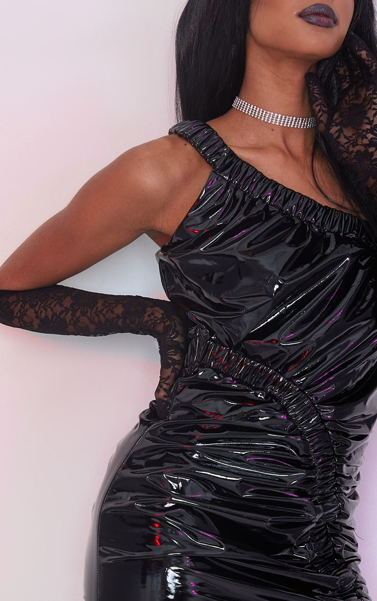 Black Vinyl One Shoulder Asymmetric Ruched Bodycon Dress 4