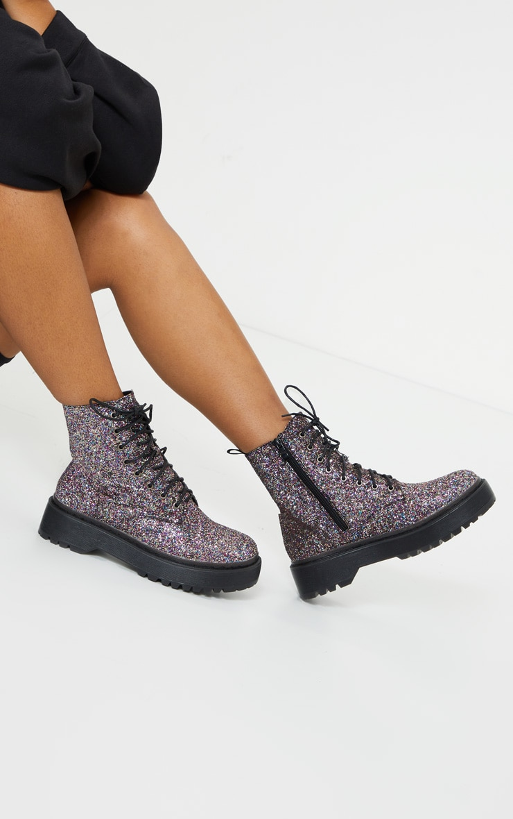 Silver Glitter Lace Up Chunky Ankle Boots 1