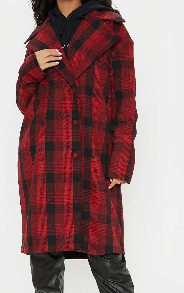 Red Checked Oversized Coat 5