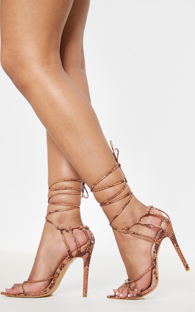 Snake Caged Heel Point Toe Sandal 1