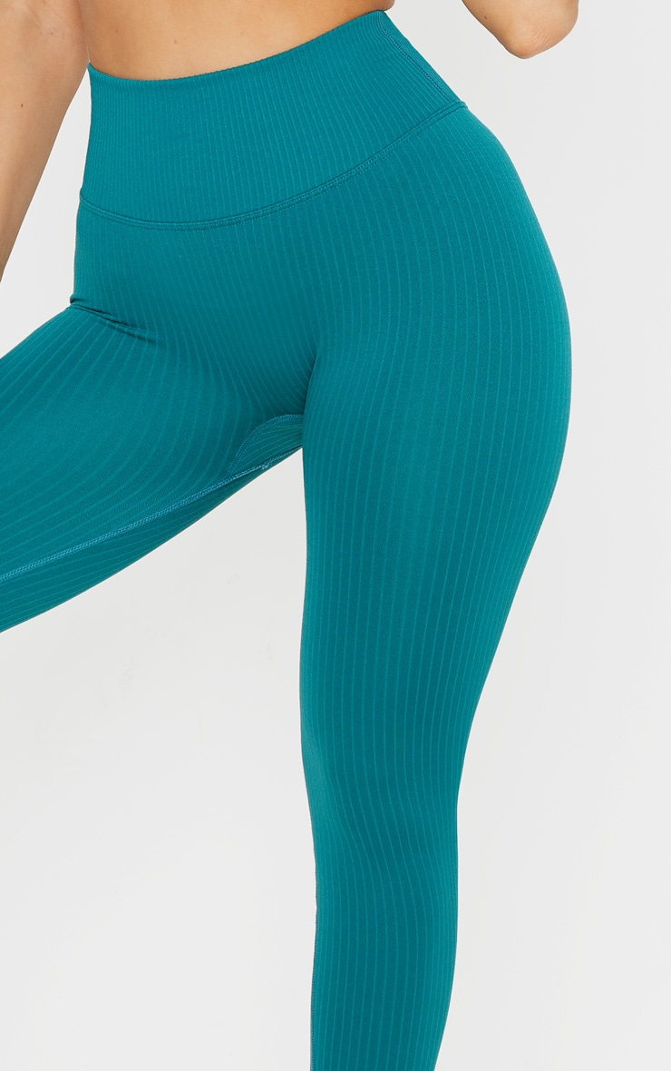 Emerald Green Ribbed Seamless Sports Legging 5