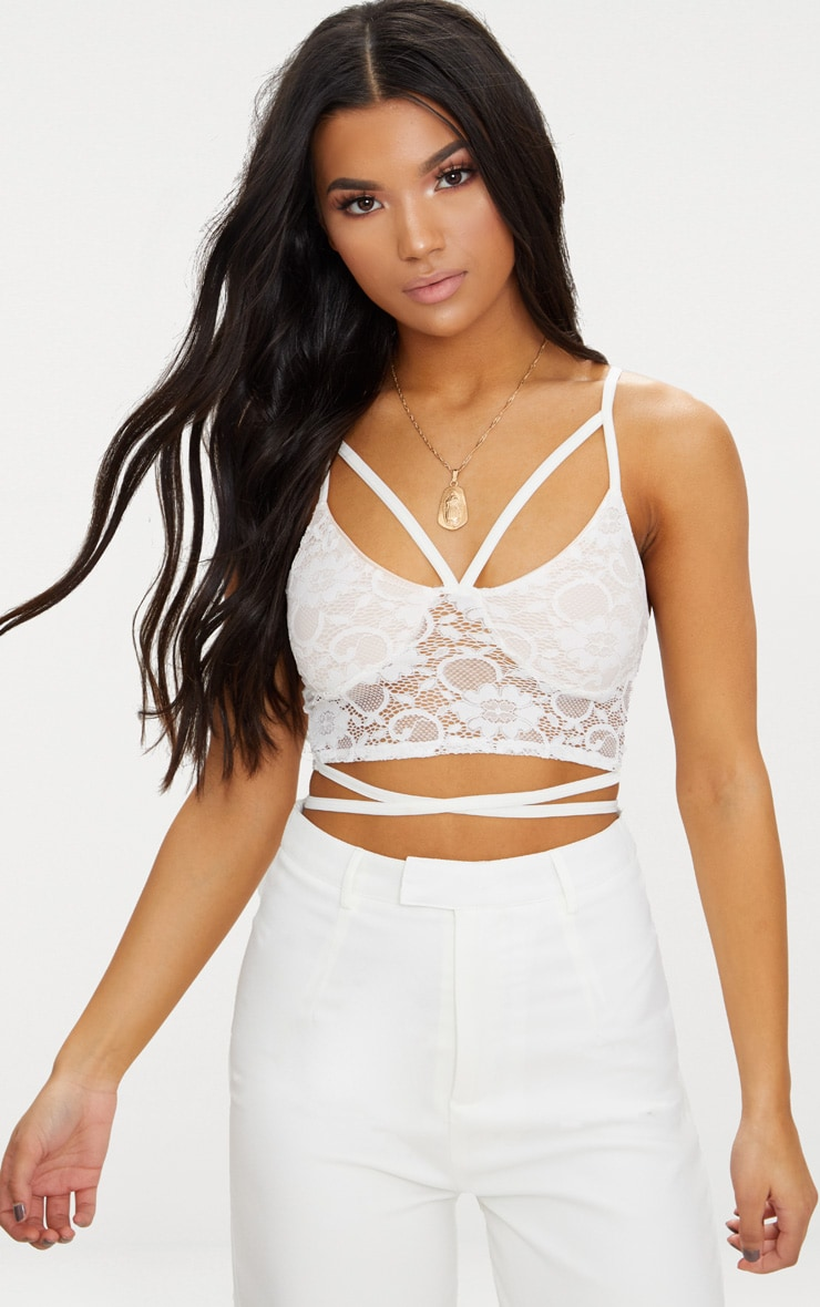 White Lace Harness Detail Bralet  1
