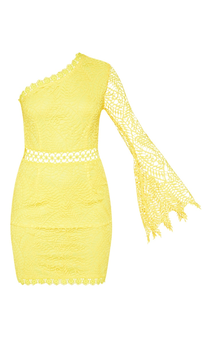 Bright Yellow One Shoulder Lace Bodycon Dress 3