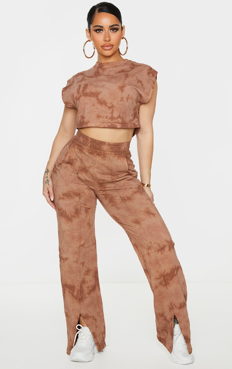 Shape Brown Acid Wash Cotton Sleeveless Crop Top 3