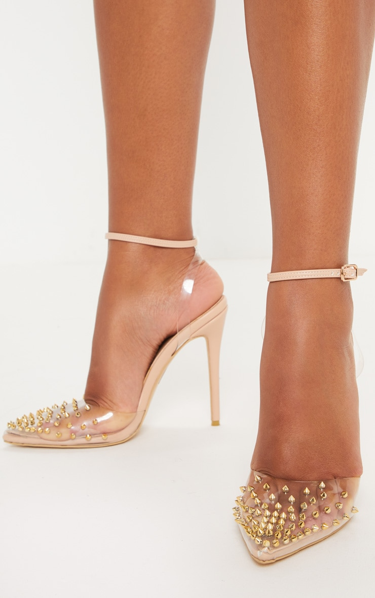 Nude Studded Clear Court  1
