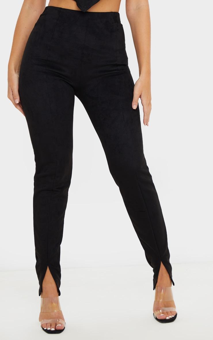 Black Faux Suede Split Front Legging 2
