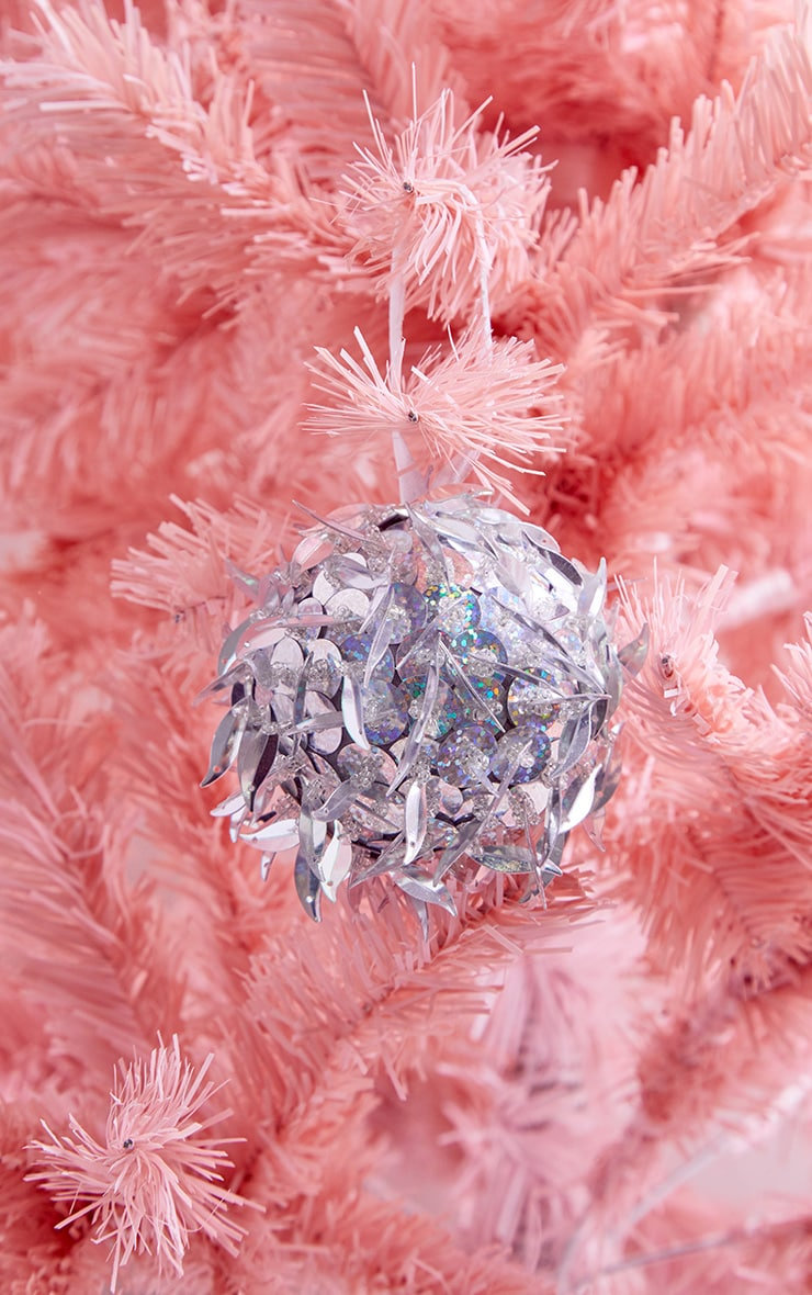 PAPERCHASE Silver Holog Sequin Bauble 1