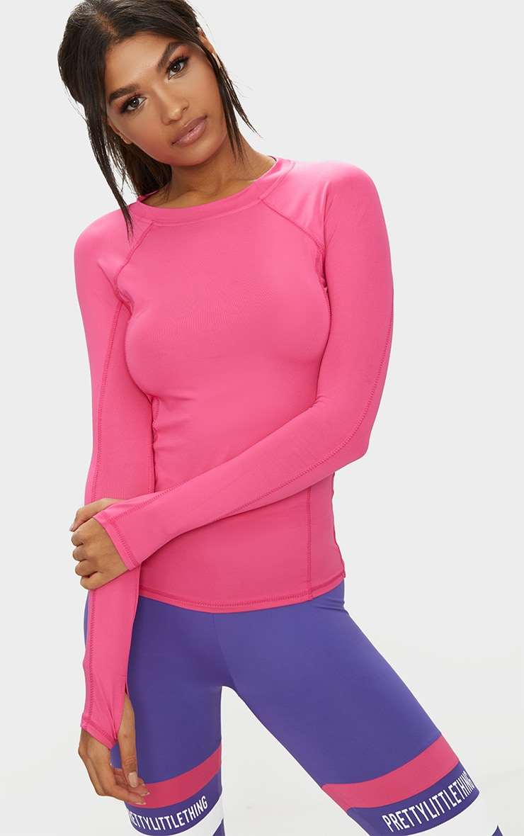 Pink Long Sleeve Gym Top  1