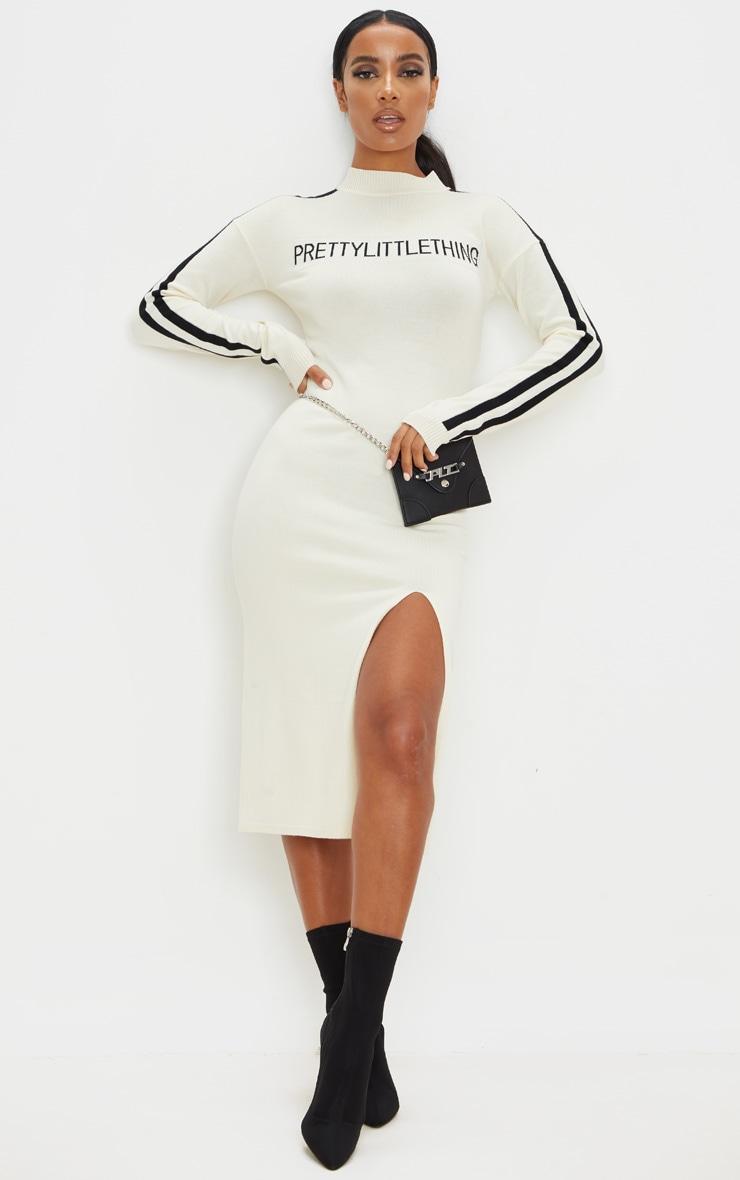 PRETTYLITTLETHING Cream Stripe Detail Knitted Midi Dress 1