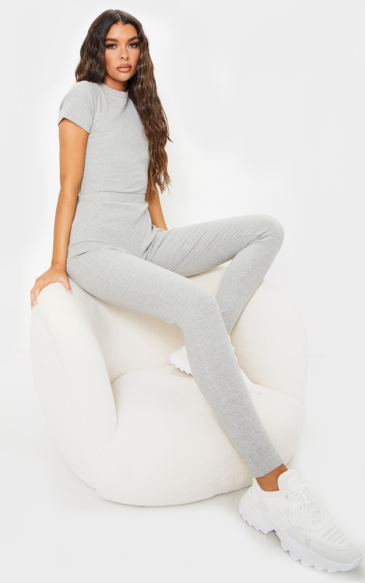 Grey Marl Thick Rib Lace Up Back Jumpsuit 1