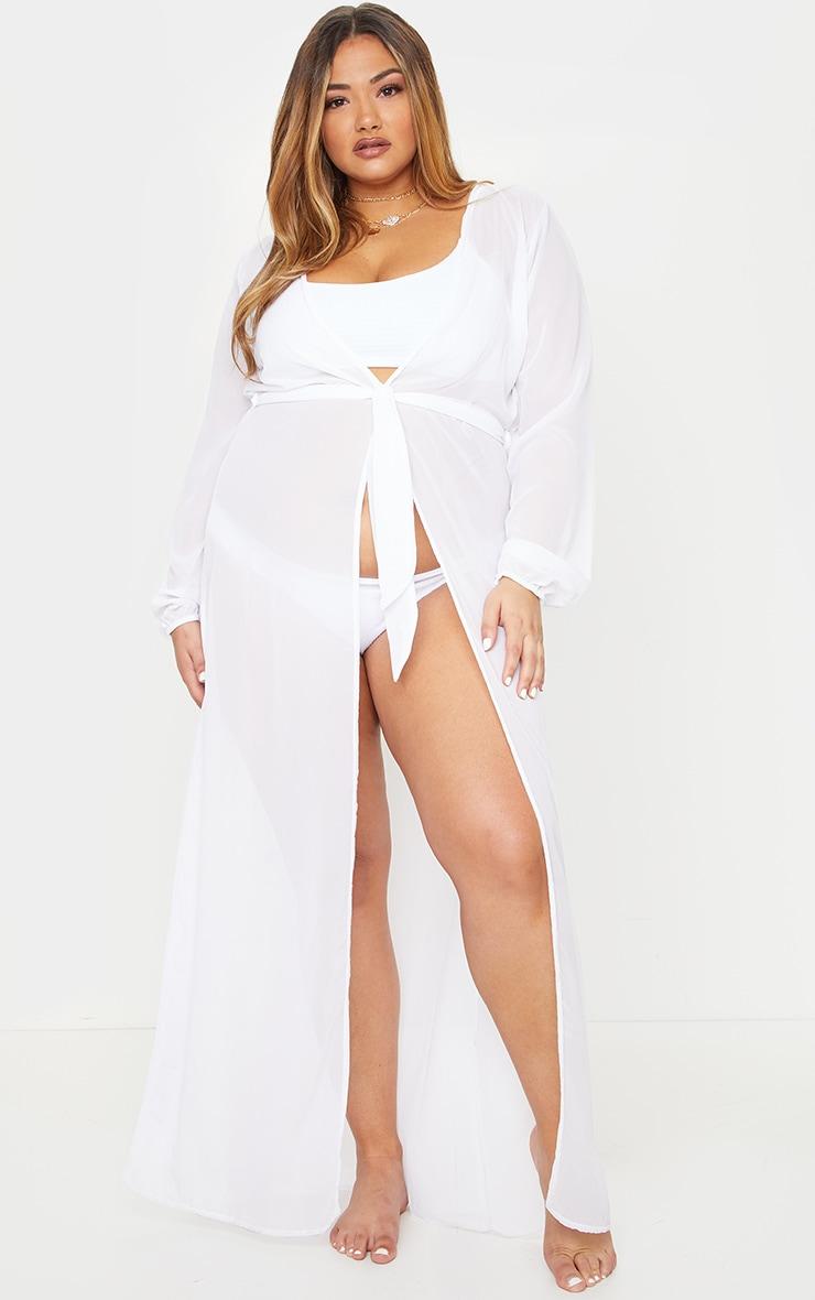 Plus White Alice Maxi Belted Beach Kimono 1