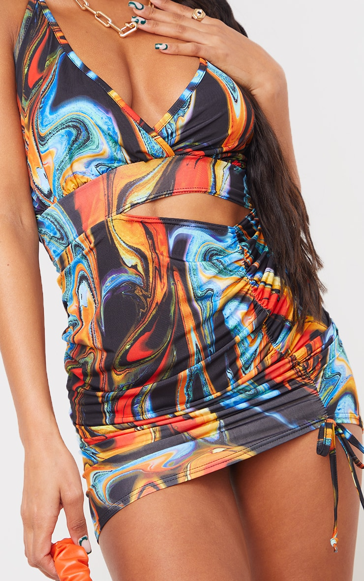 Multi Marble Print Strappy Waist Cut Out Bodycon Dress 4