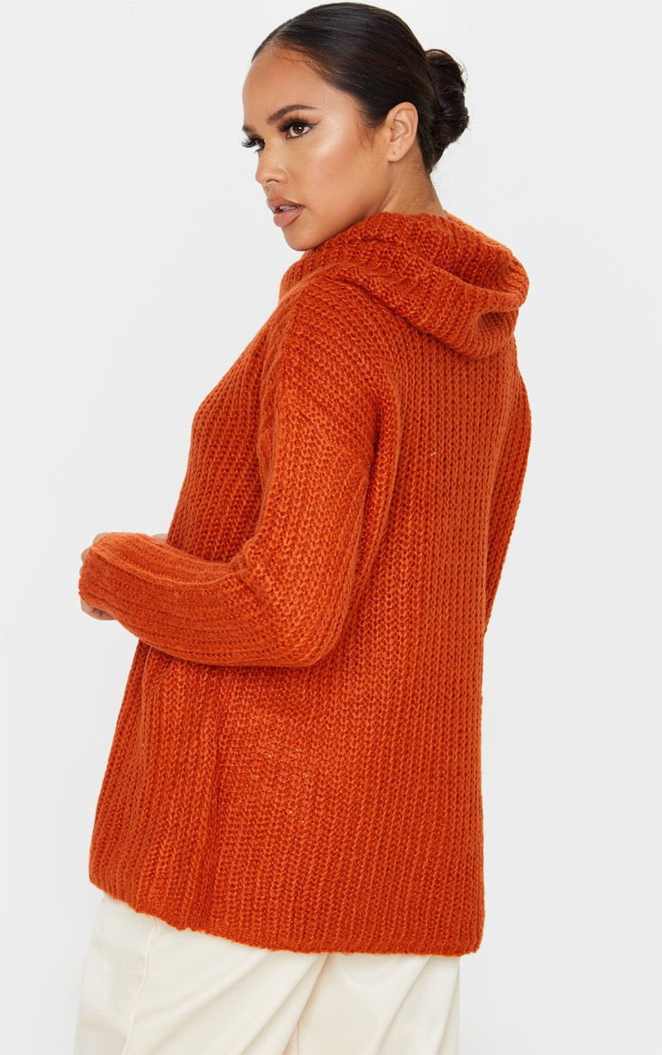 Rust Soft Knit Roll Neck Sweater 2