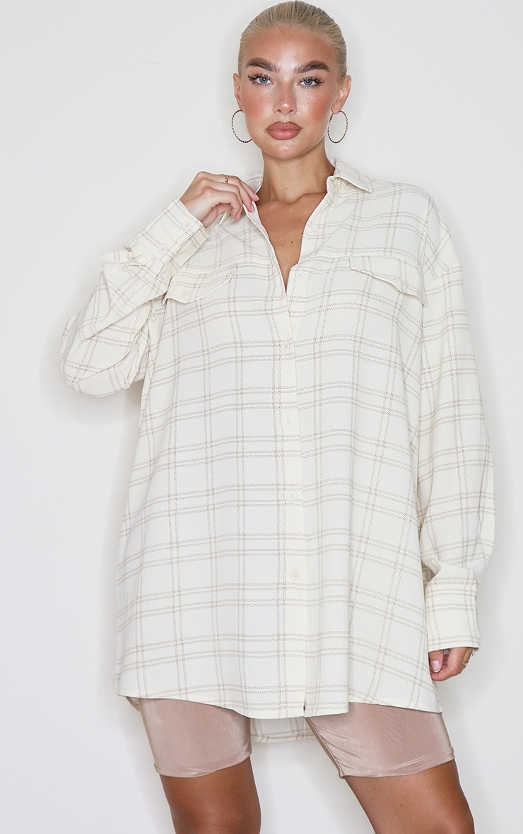 Cream Checked Pocket Detail Oversized Shirt 3