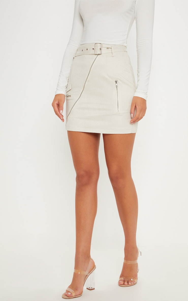 Cream Faux Suede Belted Biker Mini Skirt 2