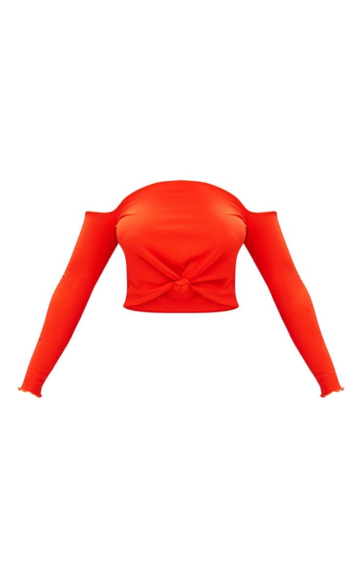 Hot Orange Ribbed Knot Front Bardot Crop Top  3