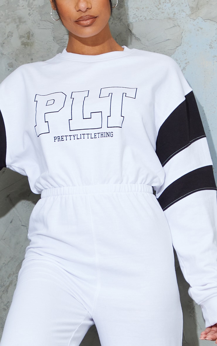 PRETTYLITTLETHING White Contrast Sleeve Sweat Jumpsuit 4