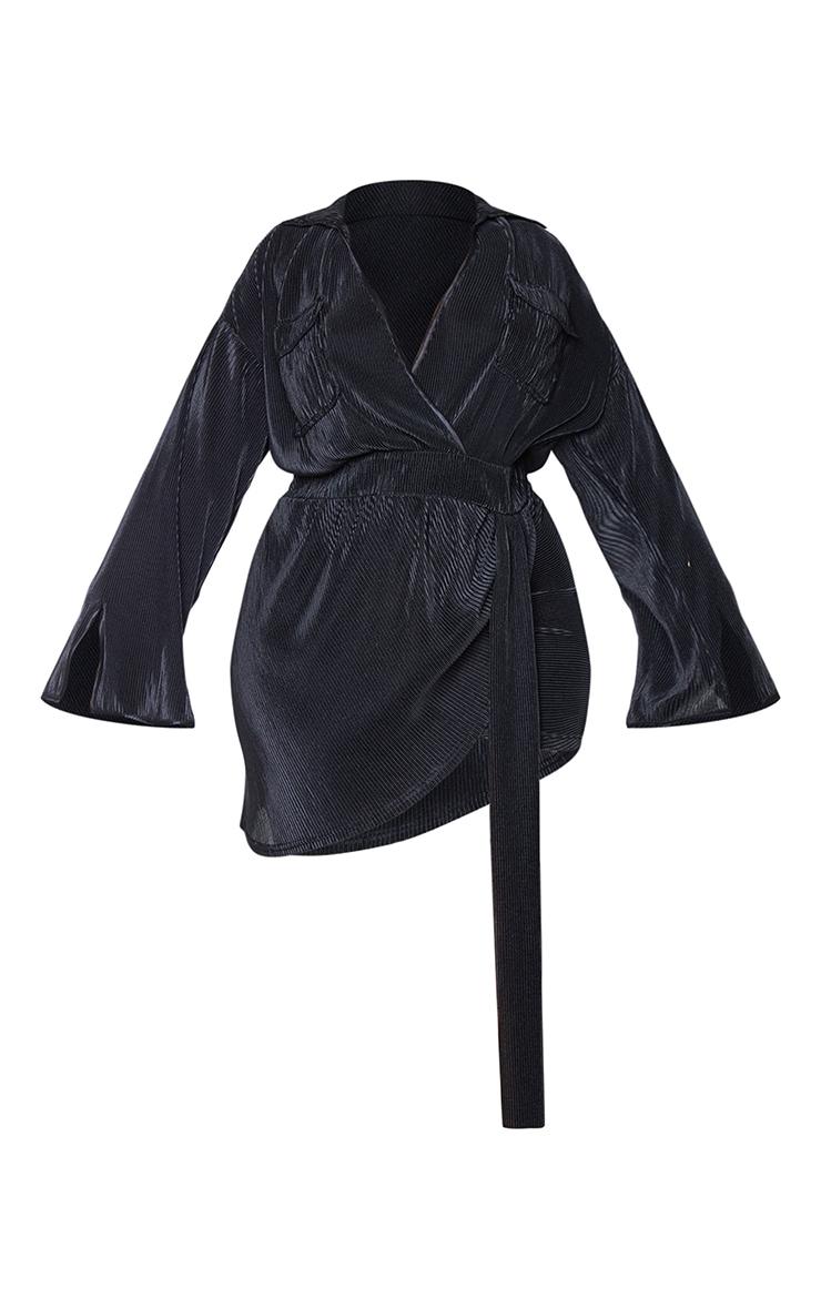 Plus Black Plisse Utility Pocket Wrap Dress 5