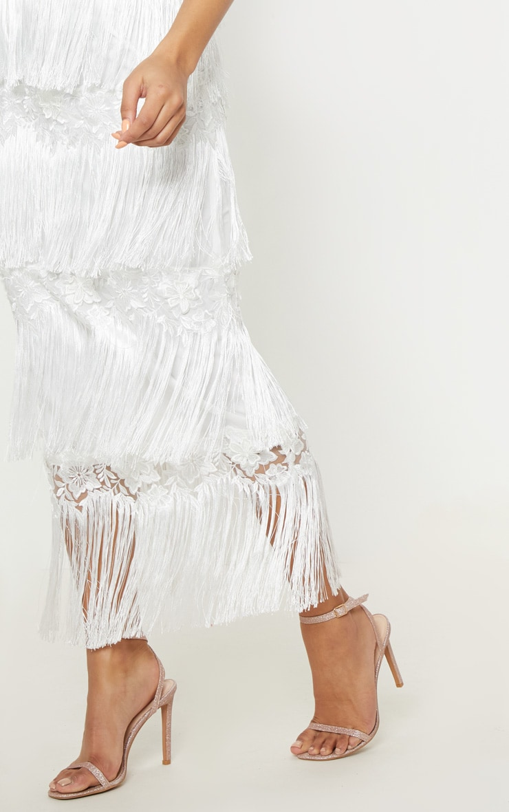 White Tassel Applique Detail Midaxi Dress 5