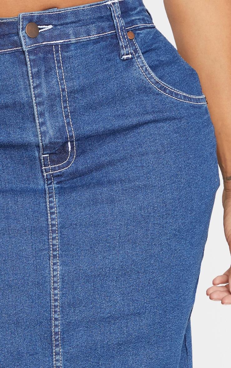 Shape Mid Wash Contrast Stitch Denim Midi Skirt 5