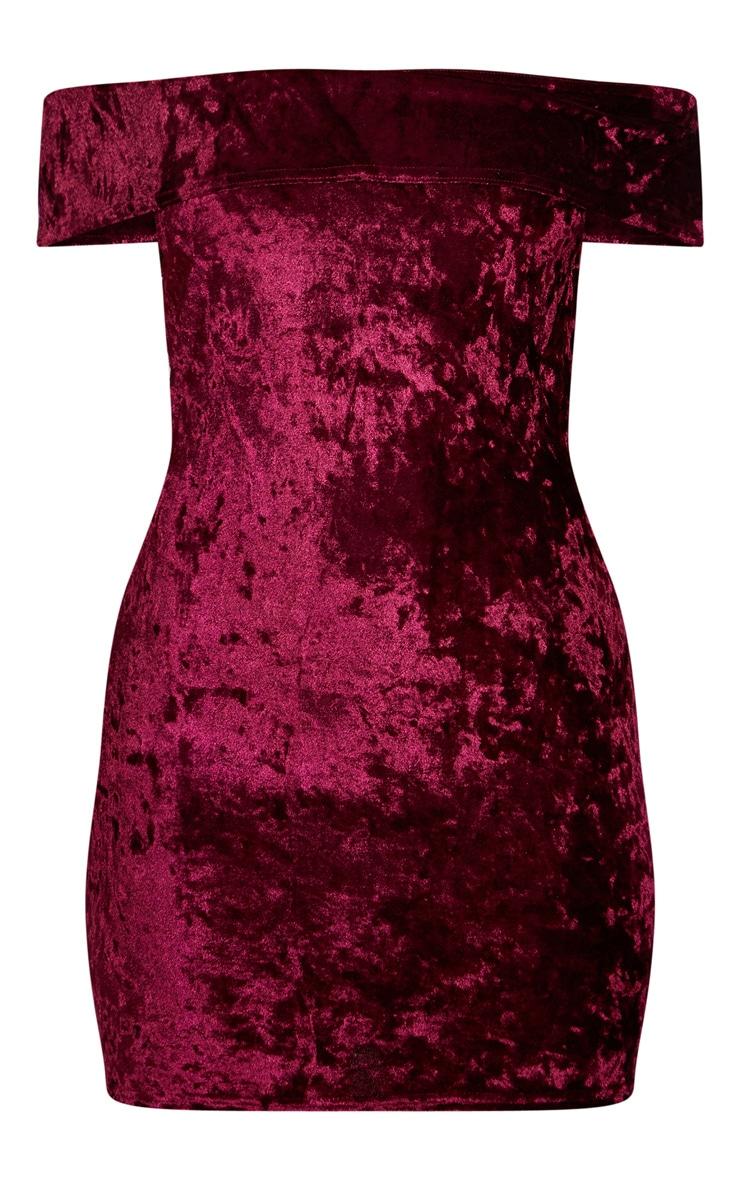 Burgundy Velvet Bardot Bodycon Dress 3