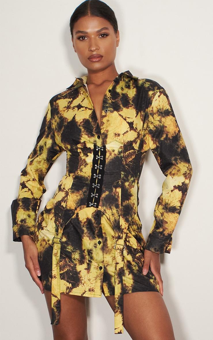 Yellow Tie Dye Hook & Eye Suspender Corset Detail Shirt Dress 1