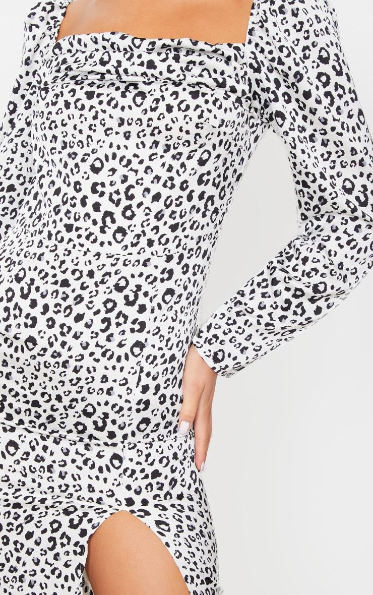 White Leopard Square Neck Long Sleeve Midi Dress 4