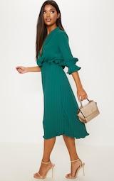 Emerald Green Frill Detail Pleated Midi Dress 1