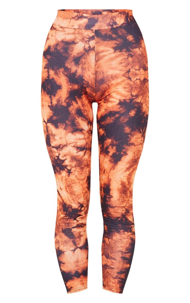 Orange Tie Dye Print Leggings 5