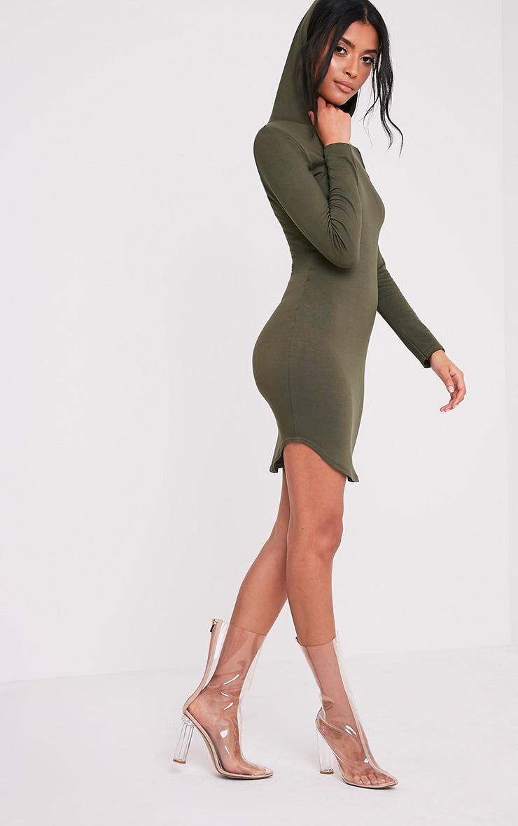 Daysie Khaki Curved Hem Hooded Bodycon Dress 5