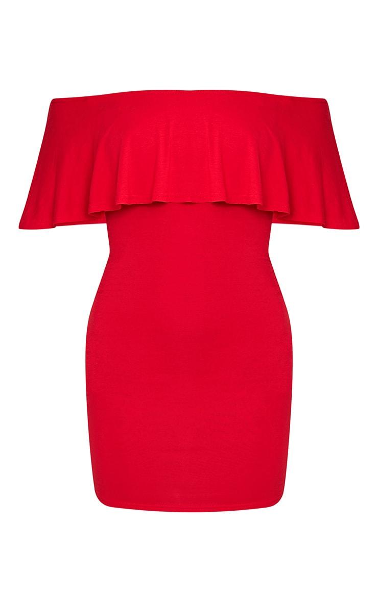 Sereen Red Frill Bardot Bodycon Dress 3