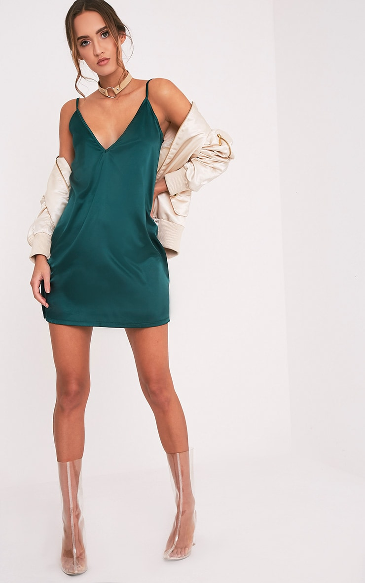 Erin Emerald Green Plunge Satin Slip Dress 1