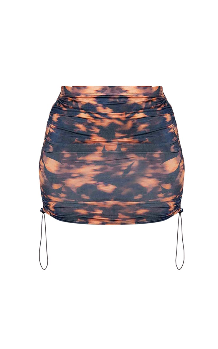 Navy Tie Dye Ruched Side Toggle Mini Skirt 6
