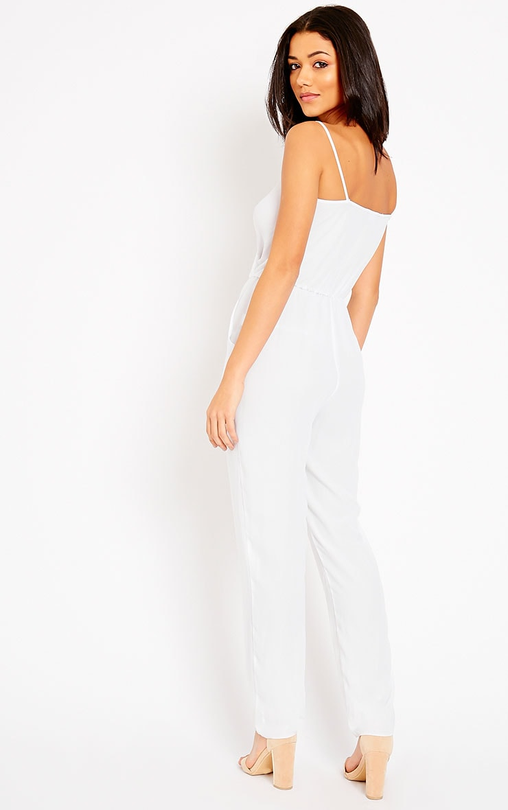 Jamelia White Wrap Front Jumpsuit 4