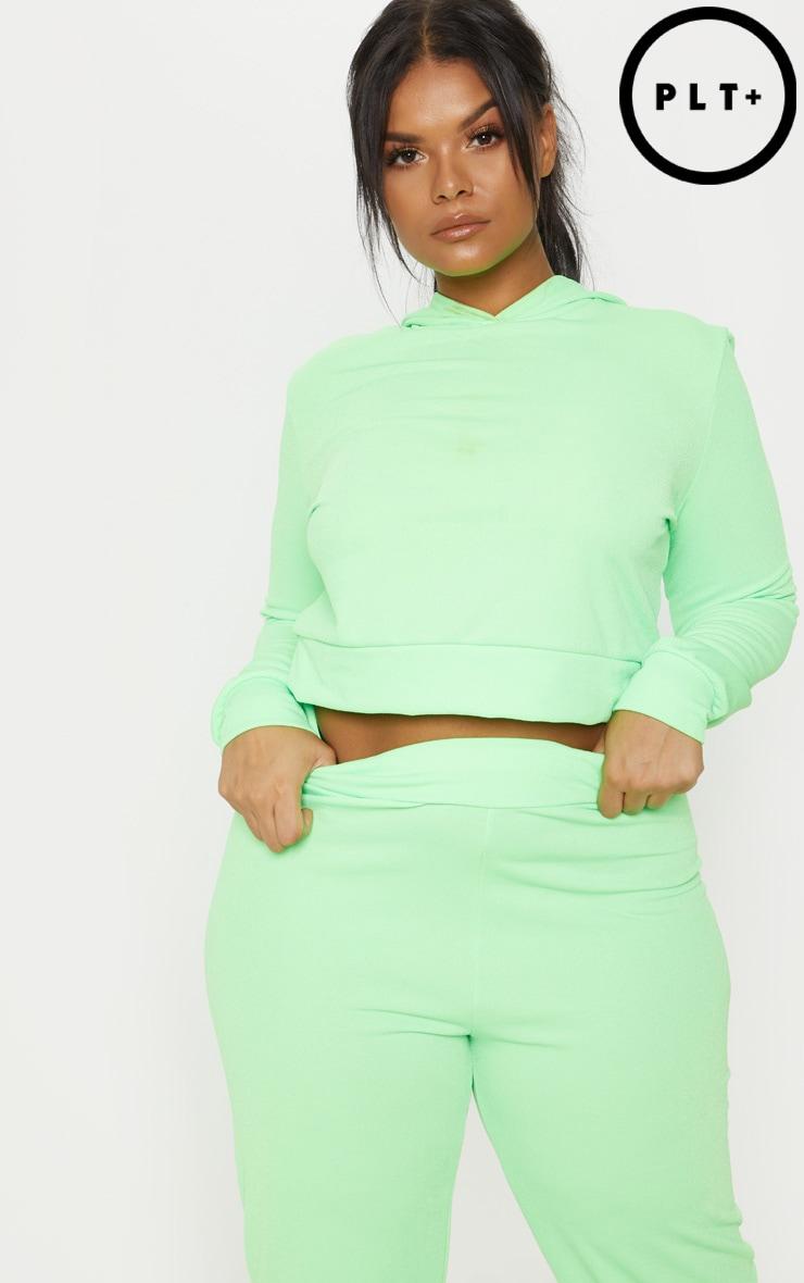 Plus Neon Green Cropped Hoodie Top 1