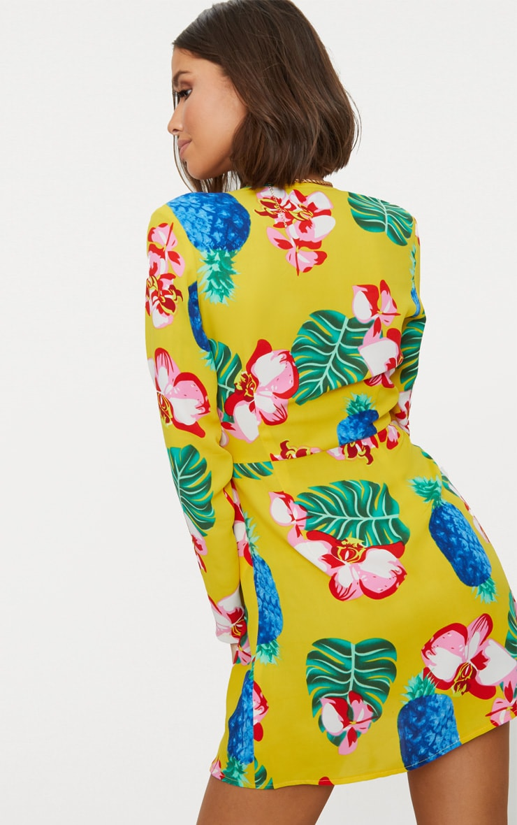 Yellow Tropical Long Sleeve Wrap Dress 2