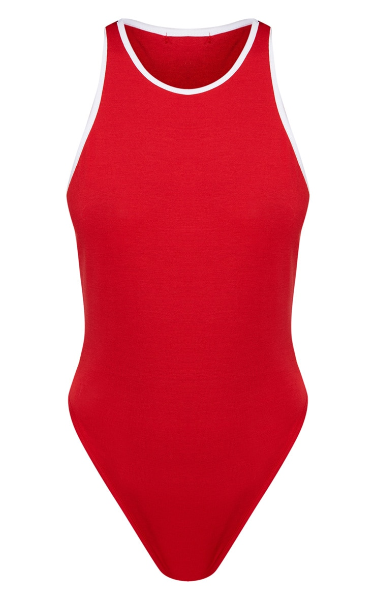 Red Contrast Piping Racer Back Thong Bodysuit 3