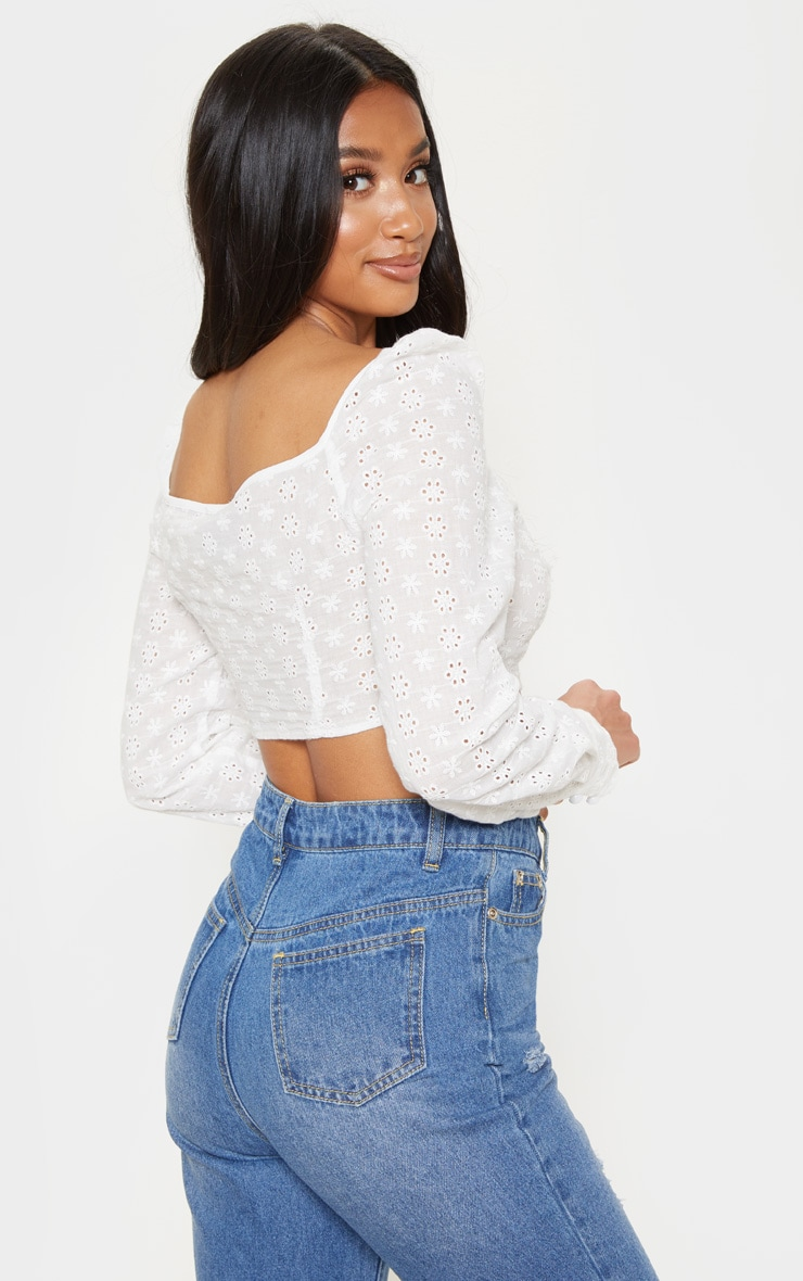 Petite White Cropped Broderie Anglaise Long Sleeve Top 2