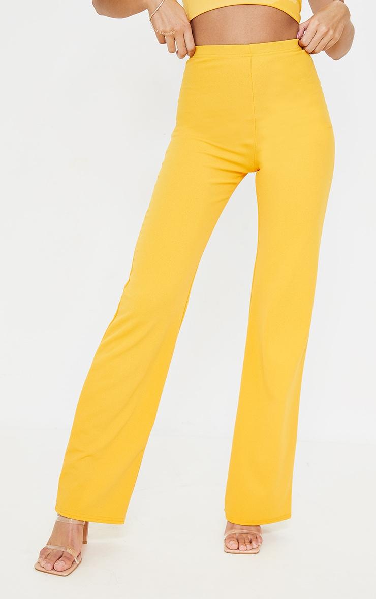 Orange Crepe High Waisted Wide Leg Trousers 2