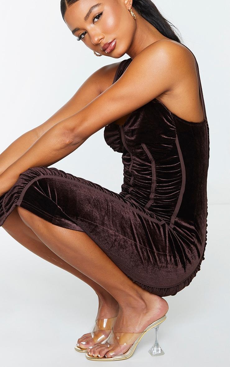 Chocolate Velvet Ruched Corset Detail Sleeveless Midi Dress 4