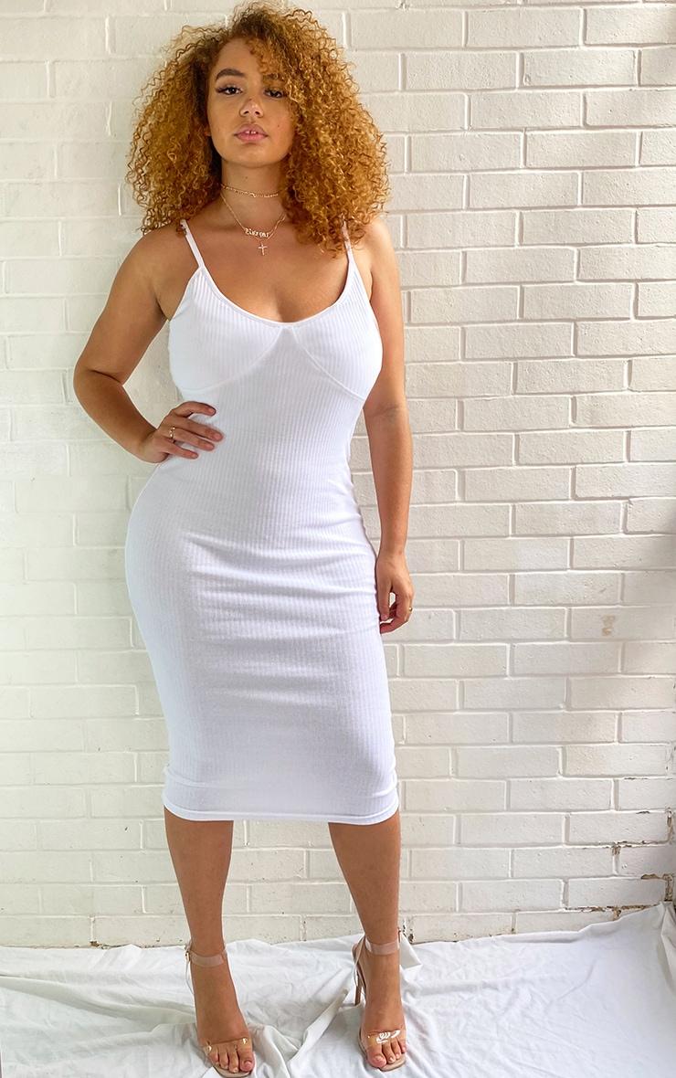Plus White Thick Rib Cup Detail Strappy Midi Dress 1