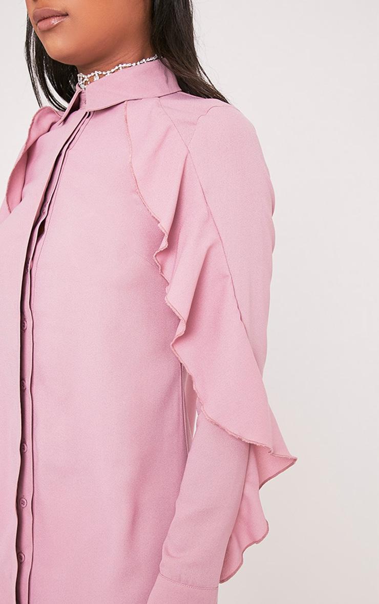 Angelica Dusty Pink Ruffle Detail Shirt Dress 6