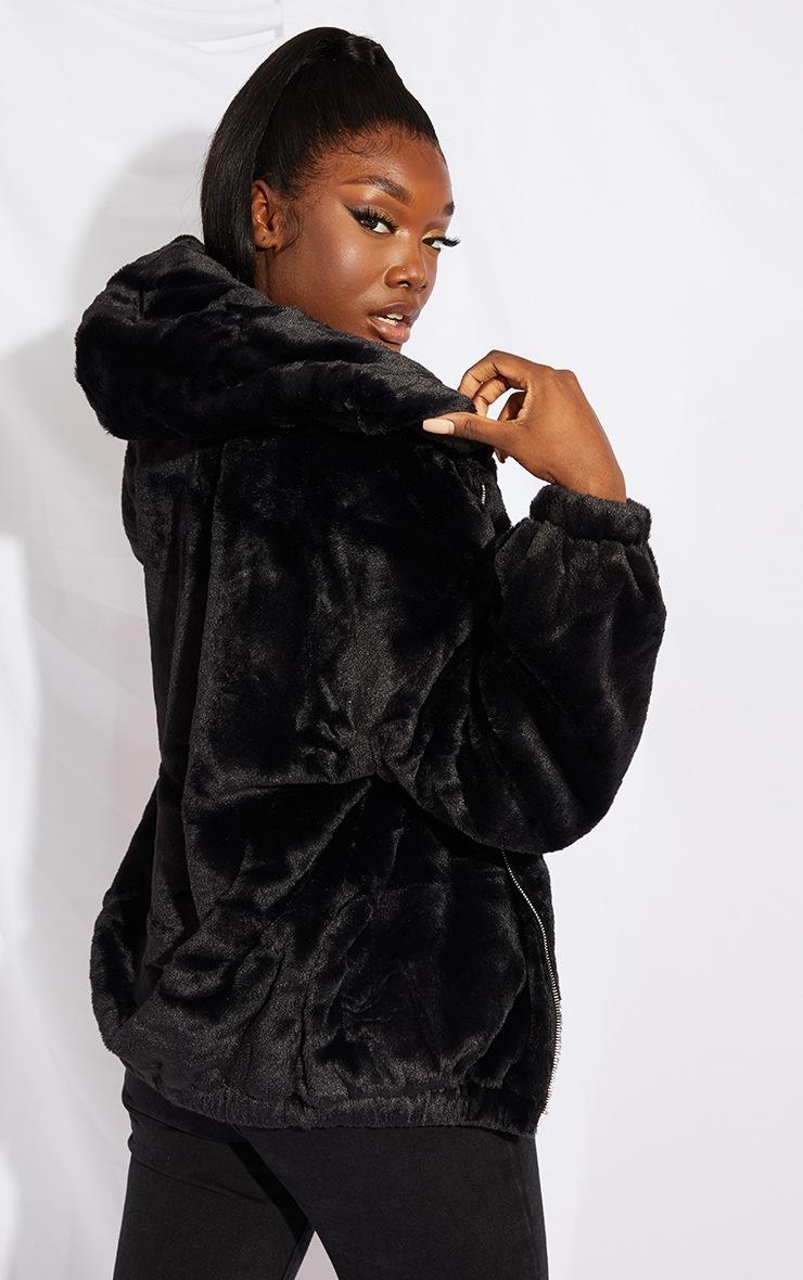 Tall Black Faux Fur Balloon Sleeve Hooded Jacket 2